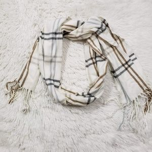 Cejon Winter Scarf Cream and Brown Plaid